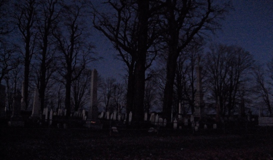 cemetary at night