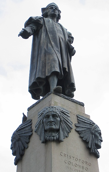 columbus stands on some indians
